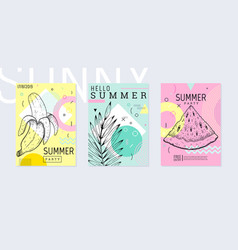 summer party poster set geometric memphis style vector image