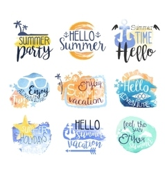 Summer Vacation Promo Signs Colorful Set vector