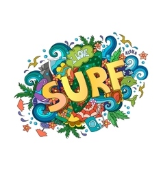 Surf lettering design hand-drawn t-shirt vector image