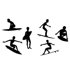 Surfing man silhouettes vector
