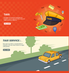 taxi service banner set template cartoon style vector image