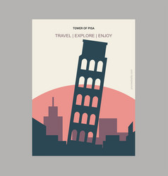 tower of pisa italy vintage style landmark poster vector image