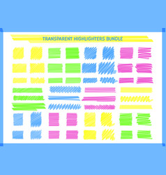 transparent highlight pen square marks set vector image