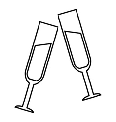 Two glasses of champagne icon outline style vector image