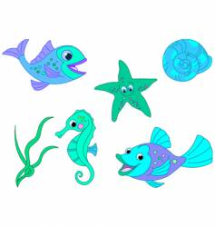 Under the sea fishy characters vector