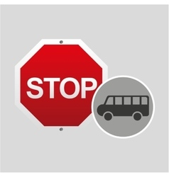 Van stop road sign design vector