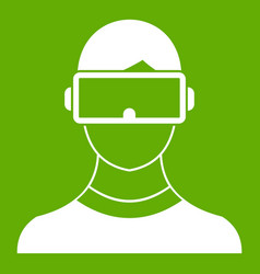 Virtual 3d reality goggles icon green vector
