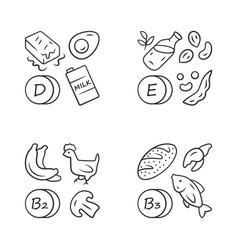 vitamins linear icons set d e b2 b3 vector image