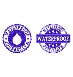 Waterproof grunge stamp seals vector