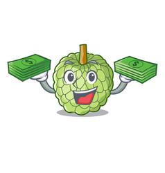 With money fresh custard apple sweet fruit cartoon vector