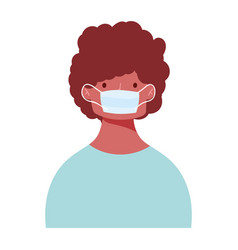 young man wearing medical mask protection vector image