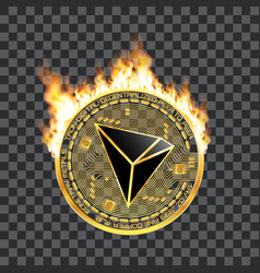 crypto currency tron golden symbol on fire vector image vector image