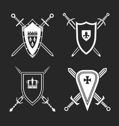 medieval shields set vector image