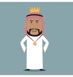Proud arabian businessman with golden crown vector