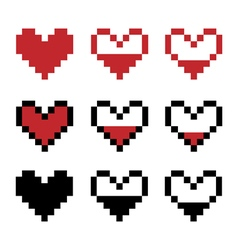 Retro game pixel hearts vector image