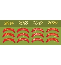 Set red labels with hand-drawn lettering on green vector image