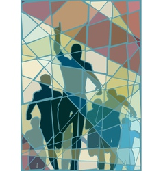 Winning runner mosaic vector image