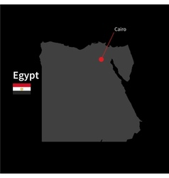 Detailed map of Egypt and capital city Cairo with vector image vector image