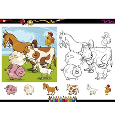 farm animals cartoon coloring page set vector image