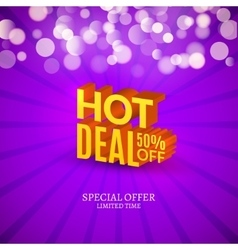 Hot deal sale 3d letters poster Promotional vector image vector image