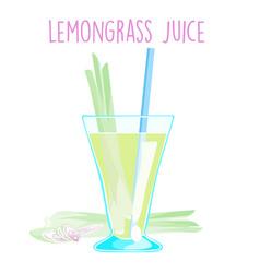 lemon grass juice on white background vector image