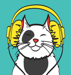 Cool art of cat with headphone music vector