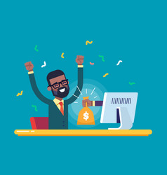 hand from the monitor stretches a bag of money vector image vector image