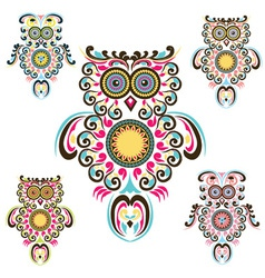 Pattern owls vector image