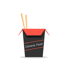 red and black box with chinese food vector image