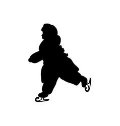 silhouette girl winter ice skating vector image