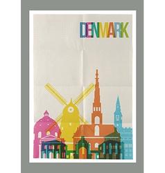 Travel denmark landmarks skyline vintage poster vector