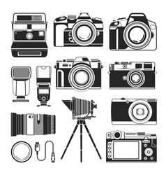 retro camera and old or modern photography vector image vector image