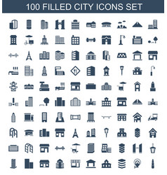 100 city icons vector image