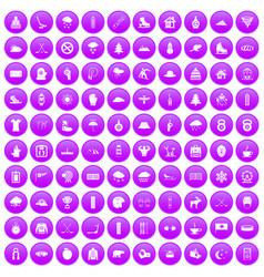 100 winter sport icons set purple vector
