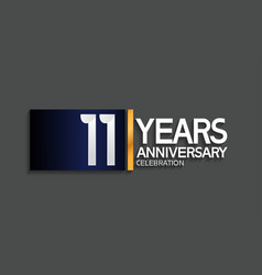 11 years anniversary logotype with blue vector