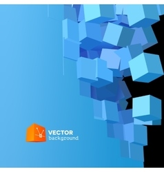 3D explosion background with cubical vector image