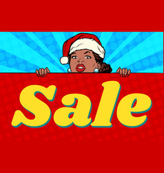 African santa girl and sales poster vector