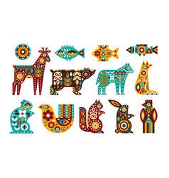 animal folk set in a scandinavian vector image