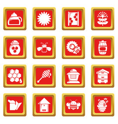 apiary honey icons set red square vector image