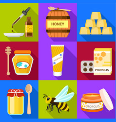 Apiary icon set flat style vector