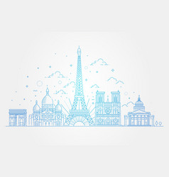 architectural landmarks of paris vector image