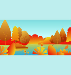 autumn landscape with a lake and leaves vector image