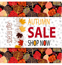 autumn sale banner with autumn creative background vector image