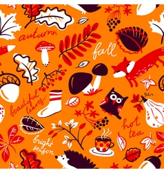 autumn season nature plants seamless pattern vector image