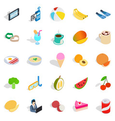 beach breakfast icons set isometric style vector image
