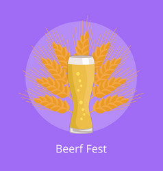 beer fest emblem weizen glass on background wheat vector image