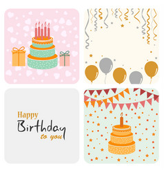 birthday decoration card in flat design vector image