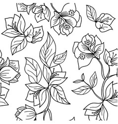 Black and white acacia flower seamless pattern vector