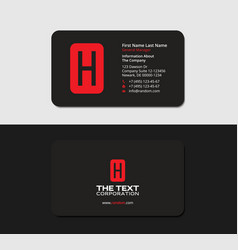 black business cards with the red letter h vector image