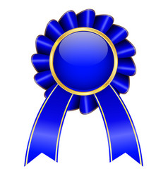 blue award badge with ribbon vector image